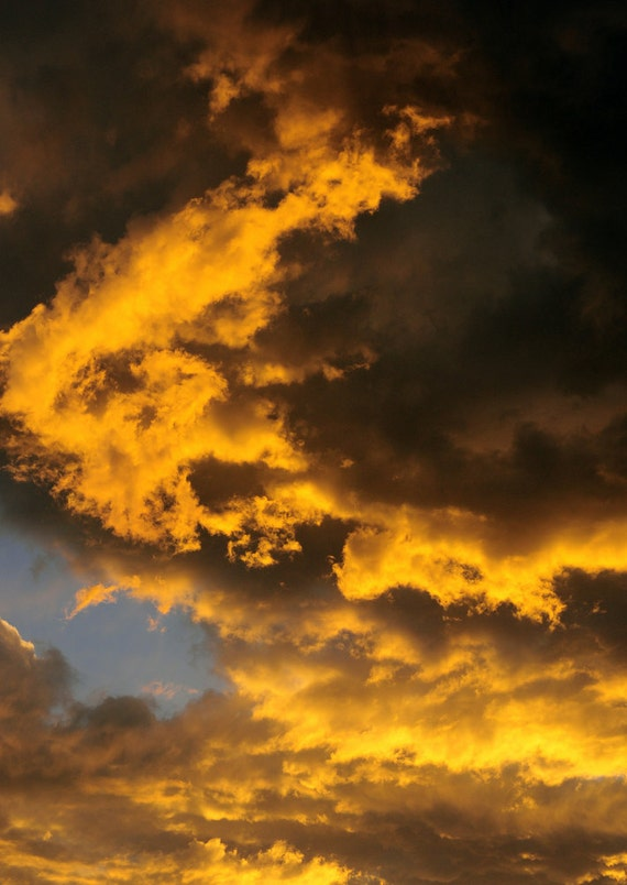 Sky Fiery Clouds Flaming Golden Flame Sunset Swirled Fire Dramatic Light Sky Cabin Lodge Photograph