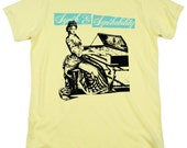 ONSALE, Synth and Synthability, 100 Percent Organic Cotton T-shirt, Yellow with Mint, unisex