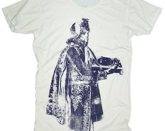The Royal DJ, 100 Percent Cotton T-shirt, Vintage White, womens small