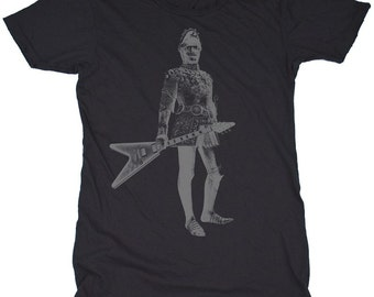 Wild Knight, 100 Percent Cotton Vintage Black T-shirt, womens