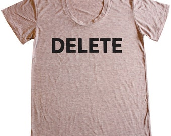 Delete, Women's Heather Burnout Scoopneck Tee, Tan