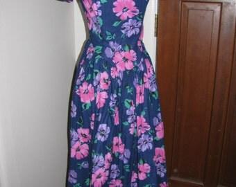 Vintage 80s Sweetheart Dress - Off Shoulder Floral Tea Length Spring Summer - Bill Berman Styled by Jodie Schwarz