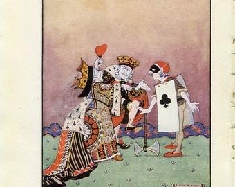 Alice in Wonderland Print 1922- Executioner King Queen Hearts Club Mask Children, Gwynedd Hudson, Kids Nursery Decor, Fairy Tale Art