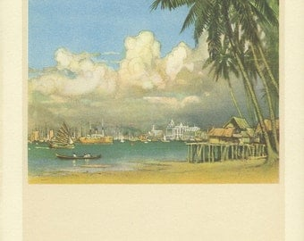 Vintage Print, Harbour Boats, 1931, Donald Maxwell, Rudyard Kipling: Singapore, East of Suez