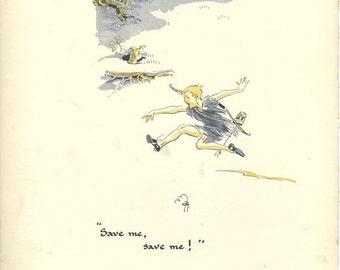 Peter Pan Vintage Print 1931-  J. M. Barrie, Gwynedd Hudson. Save me, Peter Running, Tree Rabbit in Burrow