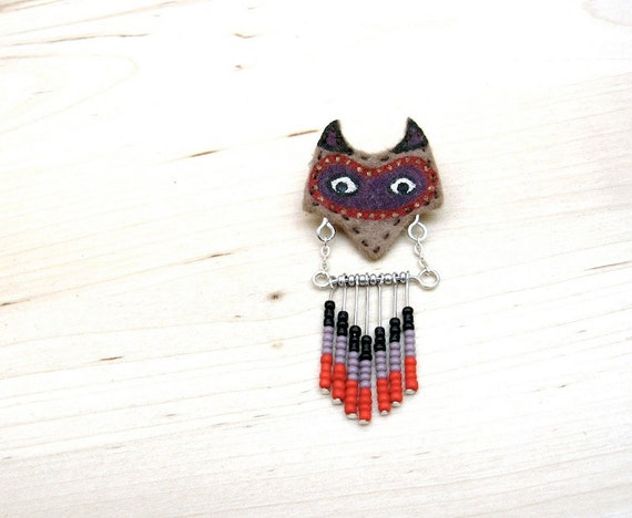 Fox Totem - Hand painted Assembled Chevron Seed Bead Brooch Pin