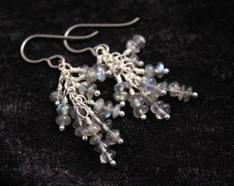 Labradorite Rondelle Cluster Earrings, Hypoallergenic Niobium Ear Wires