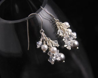 Ice Crystal Pearl Cluster Earrings