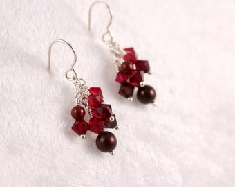 Red Cluster Earrings, Swarovski Crystals and Pearls, Silver