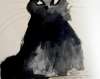 """Black Cat Art.""""Let Me Kill Stuff For You"""". Limited Edition Print by Ros Webb"""