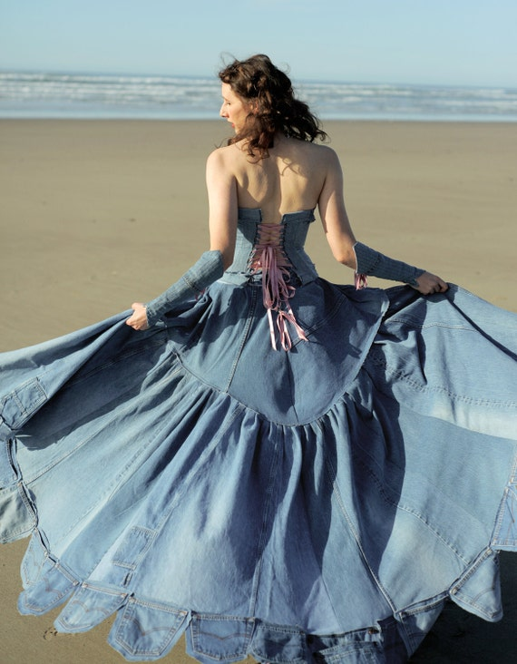 Blue Jean Wedding Dresses : Custom jean denim ballroom gown cinderella dress canadian