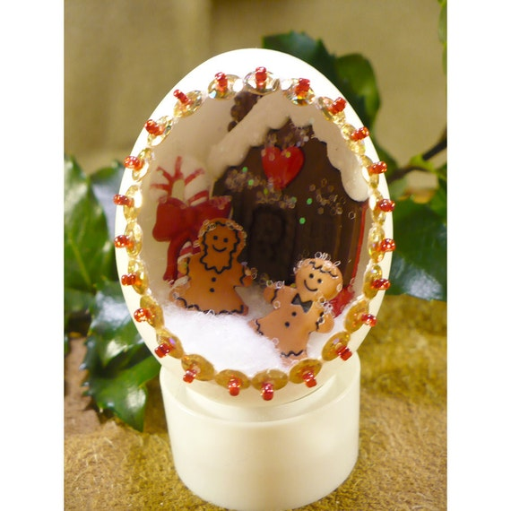 Gingerbread Children Welcome The Holidays Handmade Holiday Diorama Egg Decoration