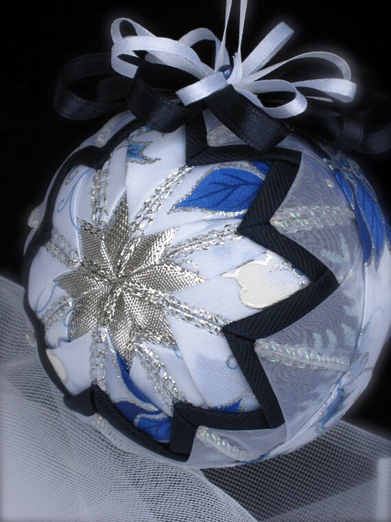 Sparkling Blue Poinsettia Quilted Star Ornament