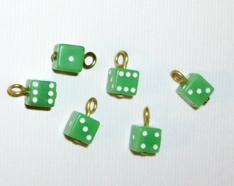 Tiny Vintage Green Dice Buttons Beads Charms Vintage Supplies Button Assemblage