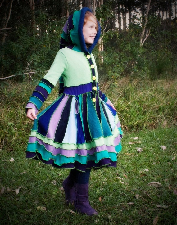 "RESERVED for brindalyn1 Custom made Girls Pixie Coat ""The Mist in the Mountain"""