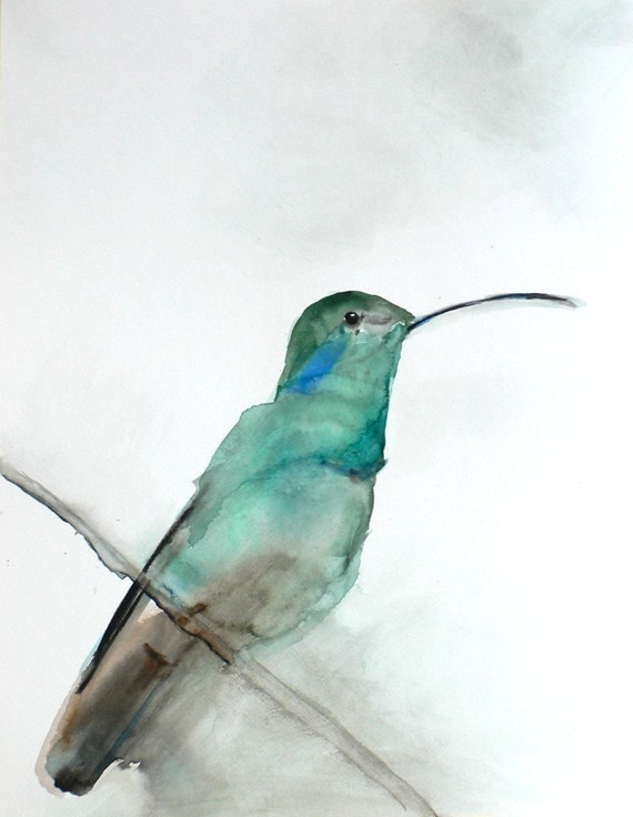 60% Off SALE - Bird Watercolor Painting - Hummingbird Art - Gift for Her - August - 8 x 10 Giclee Print