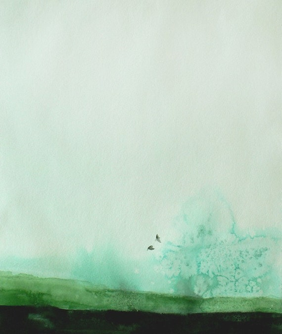 50% Off SALE - Landscape Painting - Watercolor Painting - Delicate - 8x10 Giclee Print - Second Edition - Green Sky Birds