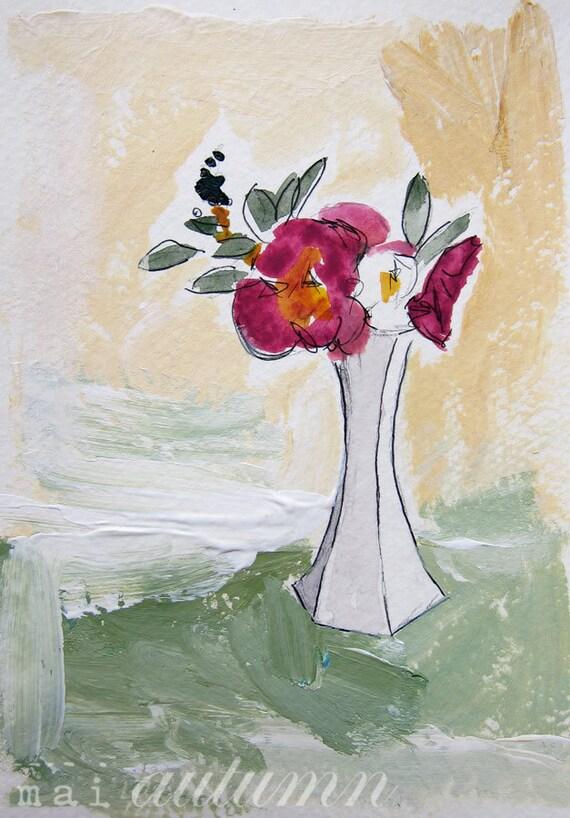 Spring Bouquet - Mixed Media Painting - Original Illustration - 5x7 - Floral Arrangement - Floral Still Life - Home Decor - Studio Clearance