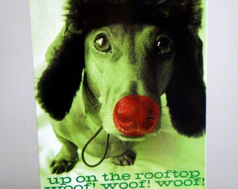 Baxter the Red Nosed Dachshund Christmas Card Single