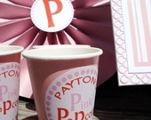Personalized Paper Party Cup Candy Cup Favor Sticker - For Baby, Showers, Birthdays, Parties, Holidays, & Weddings - By My Lady Dye