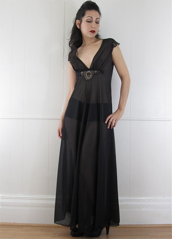 Vintage 70's Plunging Sheer Black Goddess Maxi Gown S