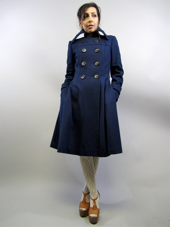 Vintage 60's Navy Wool Princess Dress Coat Wide Collar Mod Military A-Line XS S