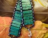 Green jasper & seed beaded handmade bracelet: Green Dream