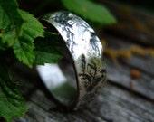 Men's bark textured silver wedding ring: Showstopper