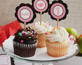 Little Birdie Cupcake Toppers, Happy Birthday Party Decorations in Pink and Brown