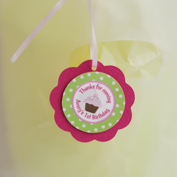 Cupcake Theme FAVOR TAGS - Cupcake Happy Birthday Party Supplies in Hot Pink and Green