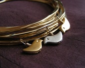 Birds Nest Bangle - Set of 8 Gold Plated Bangles with 2 Gold and 2 Silver Birds