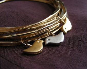 Birds Nest Bangle - Set of 6 Gold Plated Bangles with 3 Birds