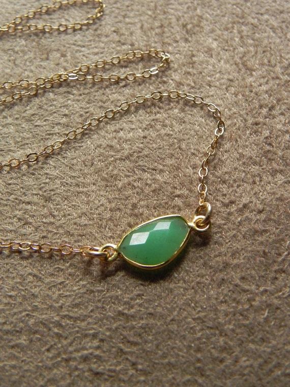 Faceted Chrysophrase Vermeil and Gold Filled Suspension Necklace