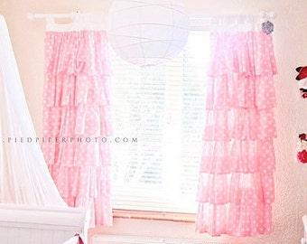 Pink Polka Dot Ruffled Curtains