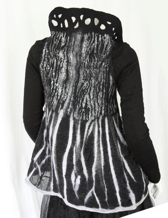 Art cloth clothing XS / S,  black white nuno felt vest, zebra, bolero, shrug, animal print, silk wool, cozy, ooak , 4 in 1