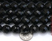 Black Jet Czech Fire Polished Beads 12mm 6 Faceted Round Glass