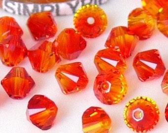 4mm Bicone Fire-Opal Swarovski Crystal Beads 20