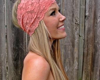 Wide Stretch Lace Fashion Headband in Coral (Pastel Peach Pink), Cute Girl Woman Boho Lace Adjustable Hair Band Accessories
