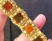 Antique goldtone amber glass Bracelet BEAUTIFUL VINTAGE by Plantdreaming
