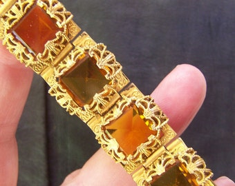 Antique goldtone amber glass Bracelet BEAUTIFUL VINTAGE by Plantdreaming