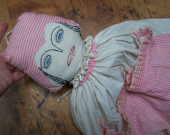 Laundry Bag Pajama  Doll 1920 embroidered boudoir Flapper VINTAGE by Plantdreaming