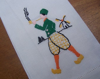 Hand towel Dutch Boy smoking a pipe hand Embroidered Tea VINTAGE by Plantdreaming