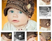 "TOP SELLER ""Charlie"" Hat -  You Pick Color - A Reversible Textured Brimmed Newsboy for Girls or Boys with Optional Flower"