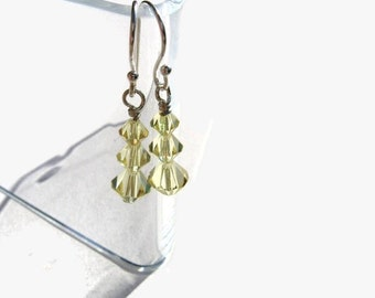 Swarovski Crystal Earrings, Wire Wrapped, Sterling Silver, Yellow, Jonquil, Rays of Sunshine, Bright, Warm, Soft, Mustard, Sparkle, Drop