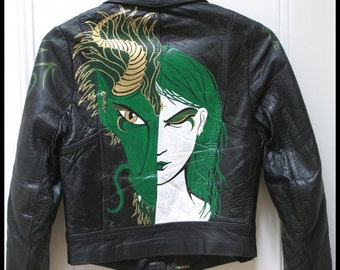 Jade Dragon Dream Hand Painted Leather Jacket