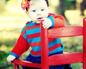 Baby Sweater, Hand Knit, Unisex -- PEABODY STREET -- Red, Orange, and Blue Striped -- Perfect for Baby Showers -- Childrens Clothing