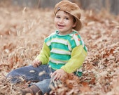 Baby Sweater, Hand Knit, Unisex -- BEACH DRIVE -- Aqua and Green Striped Hand Knit -- Children Clothing -- Perfect for Winter