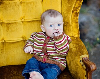 Hand Knit Child's Sweater, Unisex -- QUINCY STREET -- Striped Brown, Red, Green, Yellow, White Cardigan