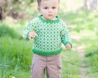 Baby Sweater, Hand Knit, Unisex -- EAST CAPITOL STREET -- Children Clothing -- Green and Cream -- Great for Baby Showers