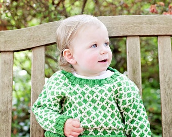 Childs Sweater, Hand Knit, Unisex -- EAST CAPITOL STREET -- Green and Cream